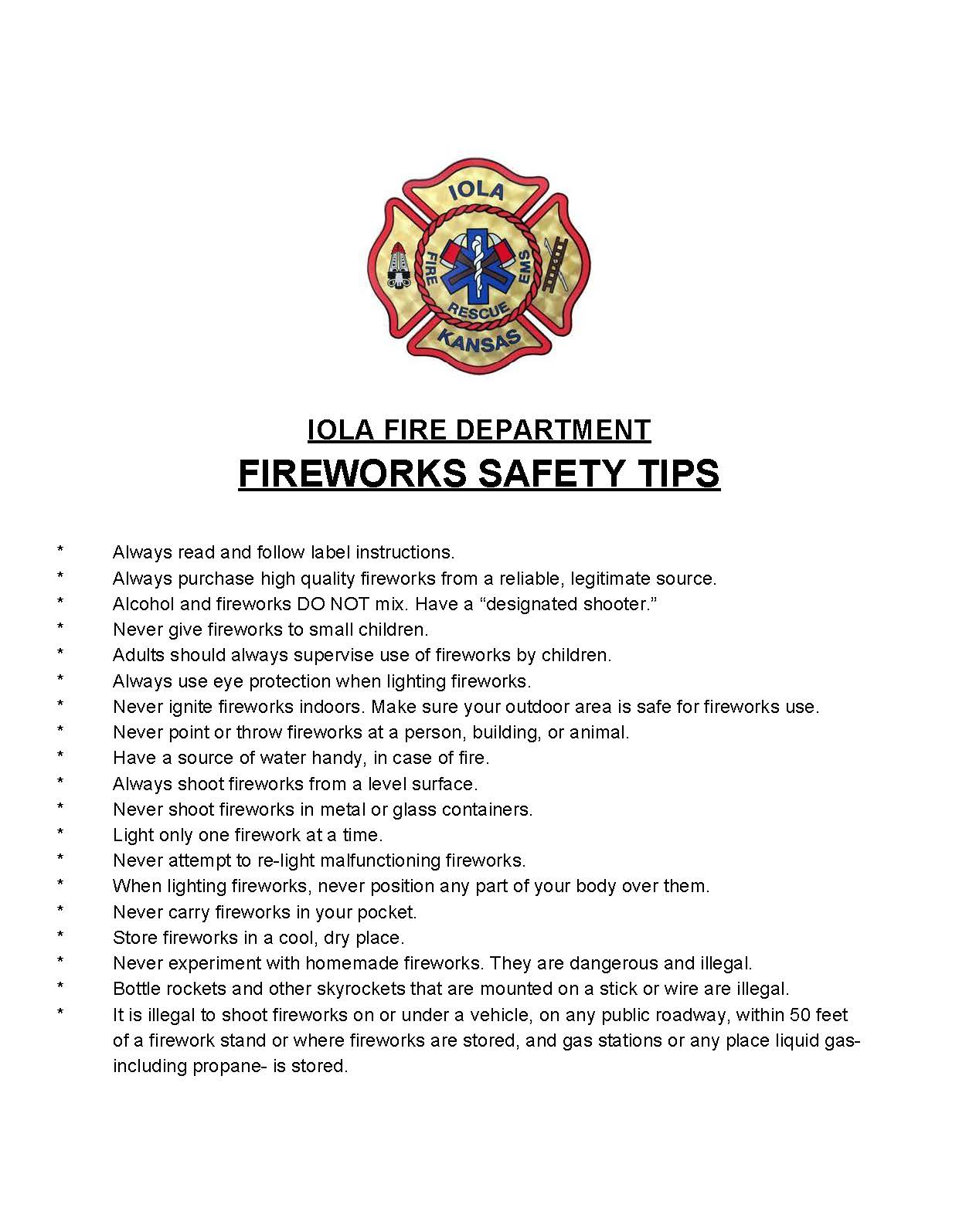 IFD Fireworks Safety Tips